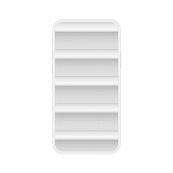 Zachte witte smartphone met lege schappen voor online winkel