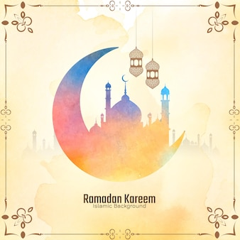 Zachtgele culturele ramadan kareem-festivalkaart