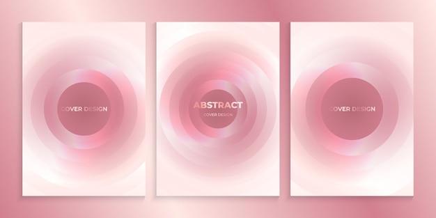 Zachtroze omslagontwerp met abstracte cirkels