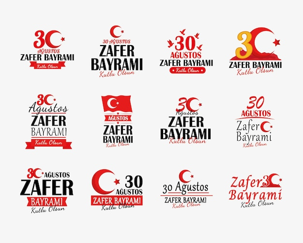 Zafer bayrami banners symboolset