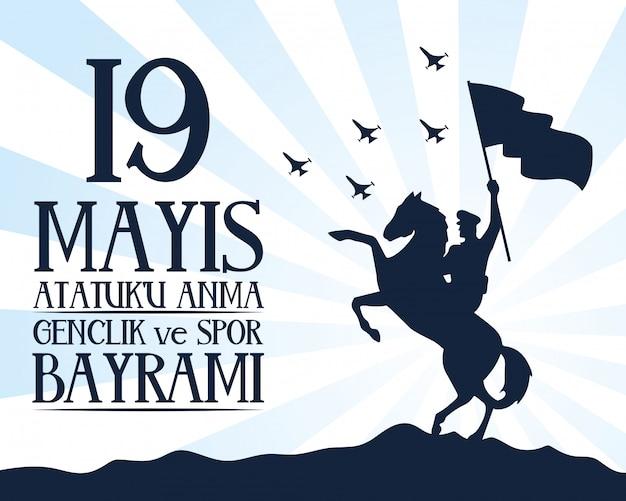 Zafer bayrami-feestkaart met soldaat in paard