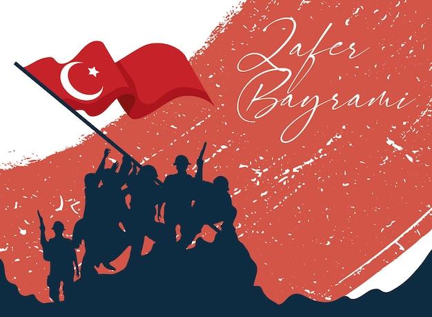 Zafer bayrami soldaten silhouet met turkse vlag op grunge background