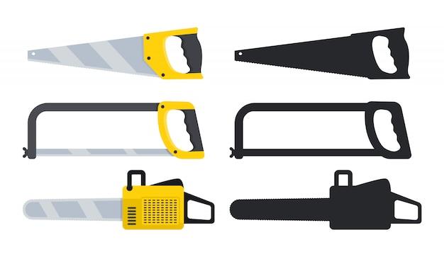 Zagen voor hout en metaal. vector illustratie geïsoleerd