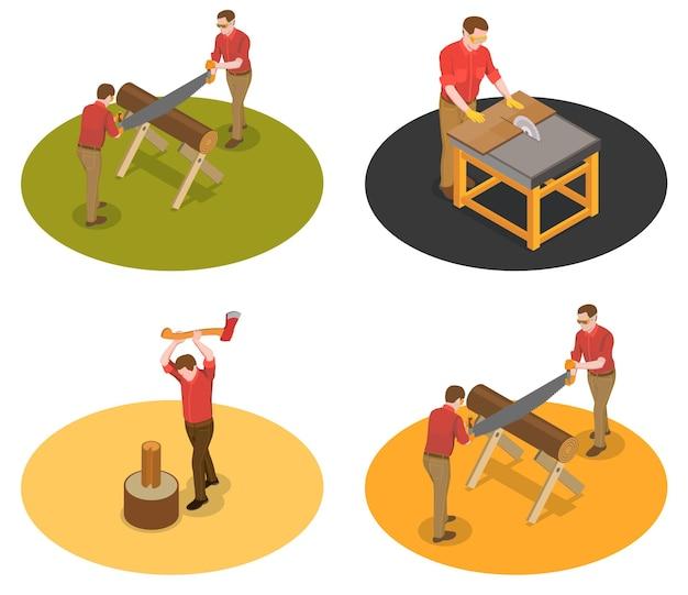 Zagerij houtmolen houthakker isometrische set van vier geïsoleerde composities met karakters van arbeiders met hout