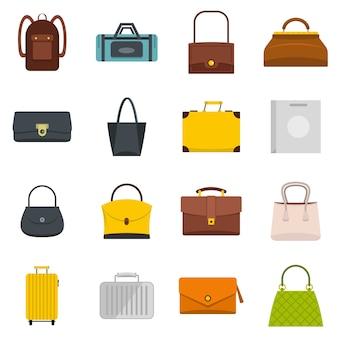 Zak bagage koffer pictogrammen instellen in vlakke stijl