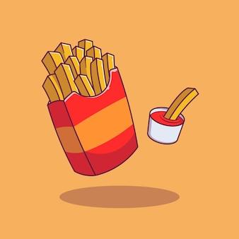 Zak met frietjes en ketchup geïsoleerd op oranje