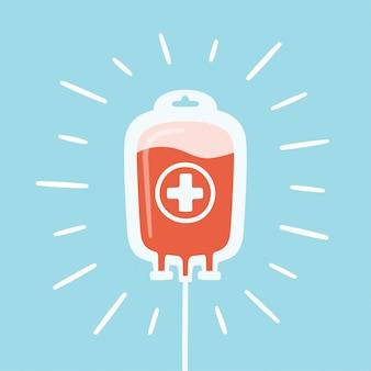 Zak met gedoneerd bloed en stralen. bloeddonordag