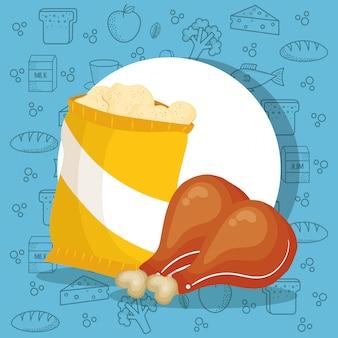 Zak met kip en aardappelen