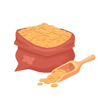 Zak met tarwe, gerstkorrels, zaad van tarwe in een jutezak met houten lepel die op witte achtergrond wordt geïsoleerd. natuurlijke landbouwvoedselelementen in cartoonstijl, vector.