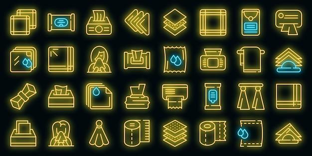 Zakdoek pictogrammen instellen. overzicht set zakdoek vector iconen neon kleur op zwart