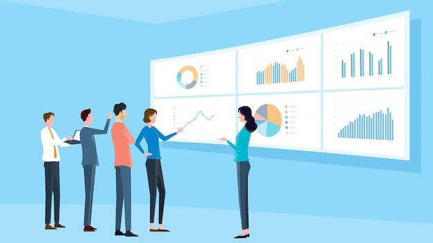 Zakelijk, analytisch, team, vergadering, en, financiën, project, opleiding, concept