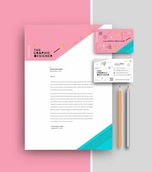Zakelijk briefhoofd met sjablonen voor visitekaartjes, vectorillustratie.