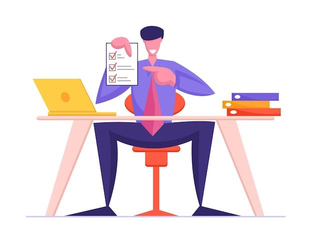 Zakelijk contract ondertekening concept business man holding finance of law paper document