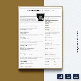 Zakelijk cv cv print sjabloon met foto premium vector