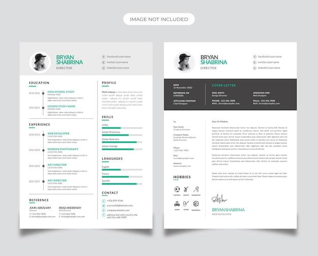 Zakelijk cv-ontwerp met plakaccent