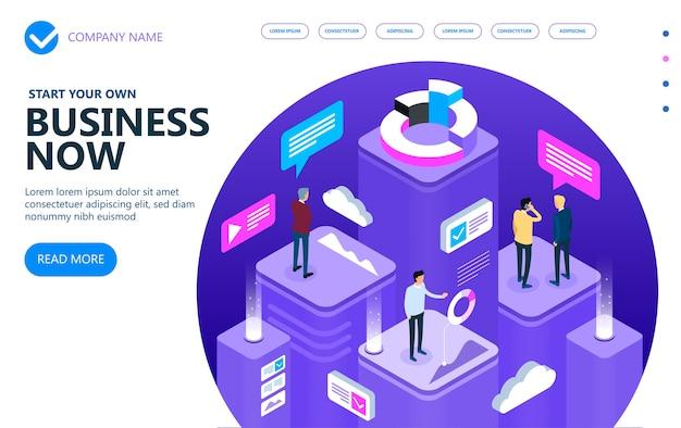 Zakelijk en financieel vector isometrisch concept, marketing isometrische mensen die samenwerken en een succesvolle bedrijfsstrategie ontwikkelen, vectorillustratie
