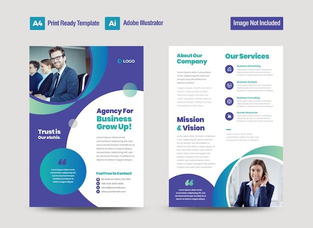 Zakelijk flyer-ontwerp of hand-out en folderontwerp of marketingblad brochureontwerp