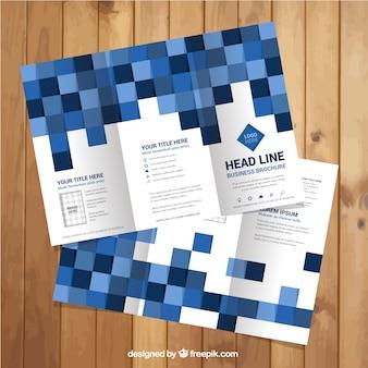 Zakelijk flyer sjabloon met vierkantjes in blauwe tinten