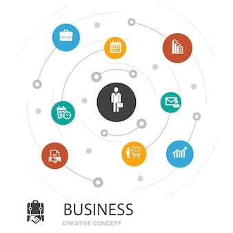 Zakelijk gekleurde cirkel concept met eenvoudige pictogrammen. bevat elementen zoals zakenman, aktetas, kalender, grafiek