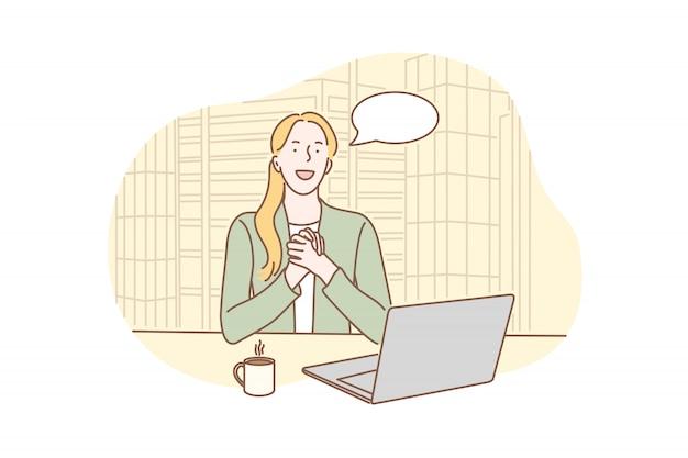 Zakelijk, goed nieuws, sollicitatiegesprek concept