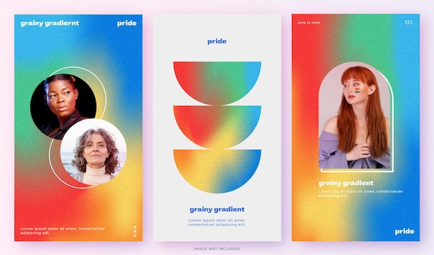 Zakelijk gradiëntsjabloonontwerppakket voor sociale media met korrelig effect en regenboogkleuren