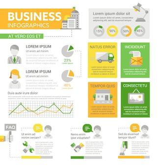 Zakelijk - info poster, brochure voorbladsjabloon lay-out met pictogrammen, andere infographic elementen en opvultekst