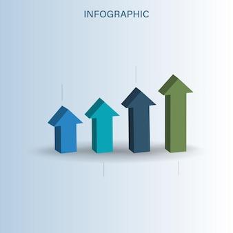Zakelijk infographic concept met 3d groeiende pijl grafiek illustratie.