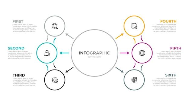 Zakelijk infographic dun lijnelement voor presentatie met 6 opties of stappen