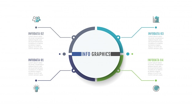 Zakelijk infographic labelontwerp met marketing pictogrammen