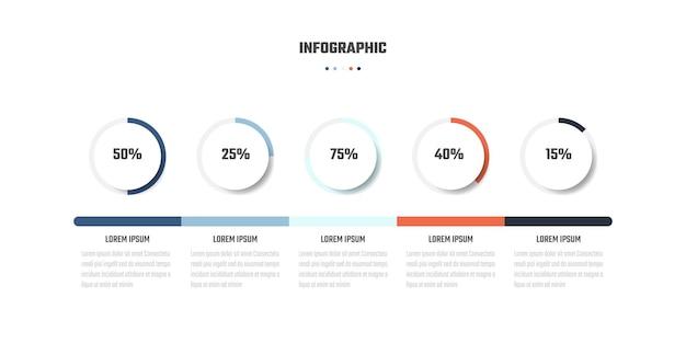 Zakelijk infographic ontwerp 5 stappen tijdlijn vectorillustraties
