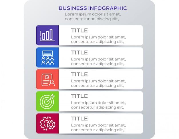 Zakelijk infographic ontwerp met 5 opties