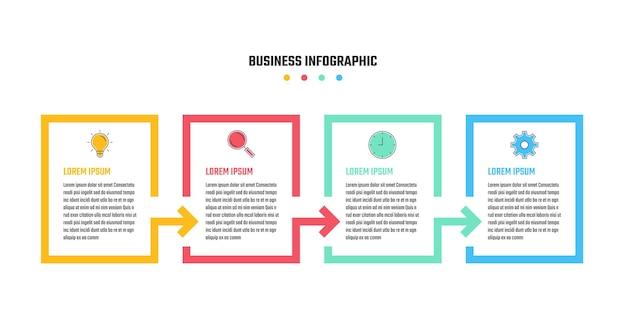 Zakelijk infographic ontwerp, tijdlijn vectorillustraties in 4 stappen