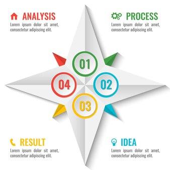 Zakelijk infographic schema in stervorm met getallen binnenin en vier stappen rond met kleurrijke titels en tekst vectorillustratie