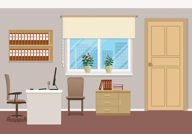 Zakelijk interieur met meubels en raam.