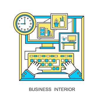 Zakelijk interieurconcept: mooie werkplekscène in lijnstijl