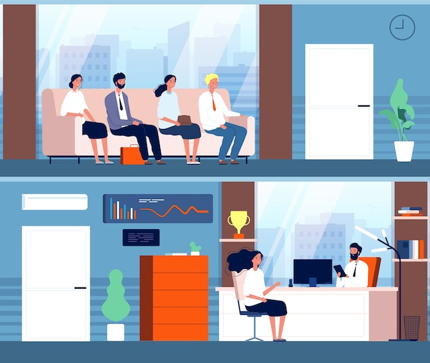 Zakelijk interview. tekens zitten in gang wachten werknemers werving personen vlakke afbeelding. zakelijk interview en werving, kantoormedewerker in gang