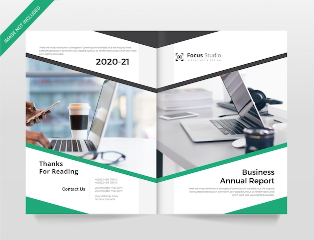 Zakelijk jaarverslag dekking brochure sjabloon
