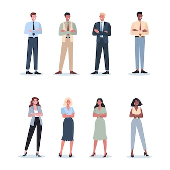 Zakelijk karakter met hun arm gekruist. mannelijke werknemer blijft in zelfverzekerde houding. zakelijke werknemer glimlach. succesvolle werknemer, prestatieconcept.