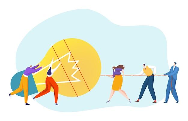 Zakelijk klein persoon teamwerk trekt samen gloeilamp creatief idee