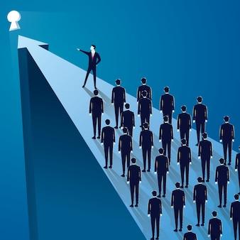 Zakelijk leiderschap concept, manager leidende team groep van mensen uit het bedrijfsleven vooruit