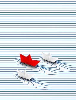 Zakelijk leiderschap, financieel concept. papier boot rood leiderschap naar succes doel. creatief idee.