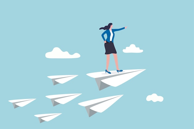 Zakelijk leiderschap, vrouwenmacht om het bedrijf te leiden om het doel te bereiken.