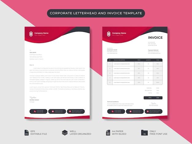Zakelijk minimaal stijlvol briefpapier en factuursjabloon bedrijfsidentiteitsontwerp voor branding