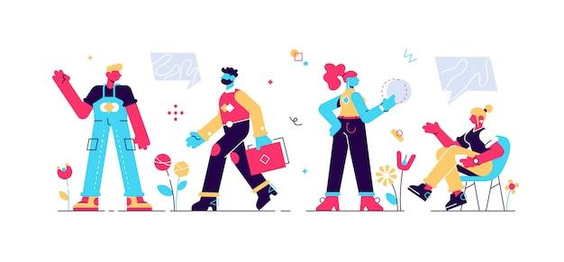 Zakelijk multinationaal team. illustratie van diverse cartoon mannen en vrouwen van verschillende rassen, leeftijden en lichaamstype in kantoor outfits. geïsoleerd op wit. vlakke stijl modern design illustratie