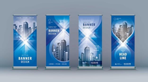 Zakelijk oprollen set staand ontwerp banner sjabloon abstract blauw geometrisch oneindigheid jflag