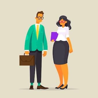 Zakelijk paar. een man in een jas en met een koffer en een vrouw in glazen met een map, illustratie in vlakke stijl