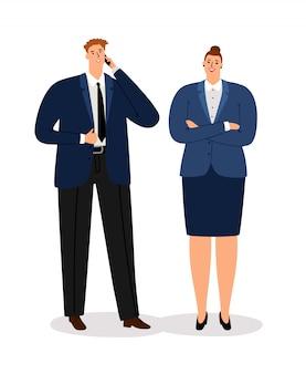Zakelijk paar. jonge uitvoerende zakenman en professionele tevreden die onderneemster op wit wordt geïsoleerd