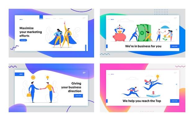 Zakelijk partnerschap banner concept illustratie bestemmingspagina
