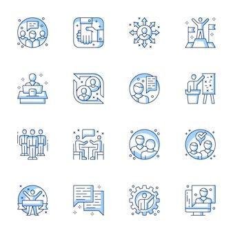 Zakelijk partnerschap en samenwerking lineaire vector iconen set.