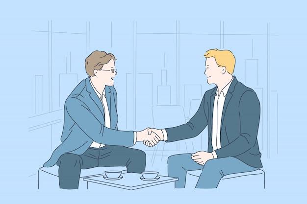 Zakelijk, partnerschap, overeenkomst, teamwerk concept